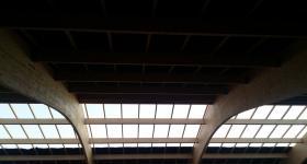 Domaine du Bois de l'Arc - Vue sur le charpente de la salle / janvier 2017